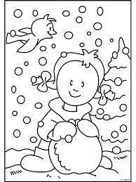 Kleurplaat Sneeuwpop Maken In De Winter Kleurplatennl