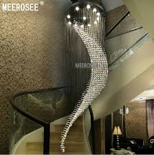 large spiral crystal chandelier light fixture chandelier res de cristal light fitting villa crystal lamp for staircase hallway lobby modern chandelier