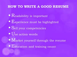 Action Words For Resumes Stunning RESUME WRITING HOW TO WRITE A GOOD RESUME  R Eadability Is