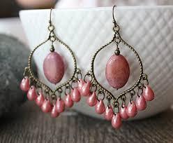 41 pink chandelier earrings chandelier earrings pink rose quartz pink glass sterling silver organiccollective org