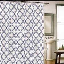 gray and blue shower curtain. cynthia rowley moroccan tile quatrefoil navy blue on white fabric gray and shower curtain