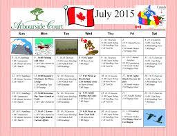 July 2015 Calendar Of Arbourside Court Seniors Activities