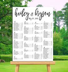 Wedding Seat Chart Poster Wedding Seating Chart Printable Alphabetical Or By Table Number