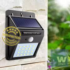 wishgate solar wall light outdoor waterproof 20 led pir motion sensor great for patios