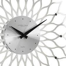 london clock company gloss silver wall