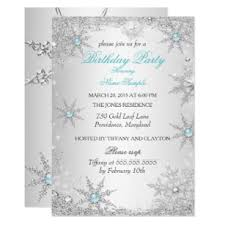 Snowflake Birthday Invitations Teal Winter Wonderland Birthday Party Invitation