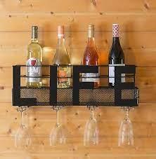 black wall mount metal wine rack
