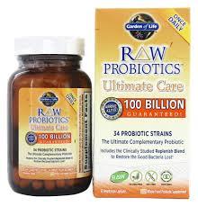 garden of life raw probiotics ultimate care 34 probiotic strains 100 billion cfu 30 vegetarian capsules at luckyvitamin com