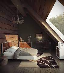 Bedroom Designs: Orange Attic Bedroom Blue Artwork Built In Storage -  Exposed Brick