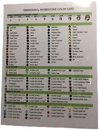 Swarovski Crystal Color Chart Actual Rhinestones Swarovski Rhinestone Color Card