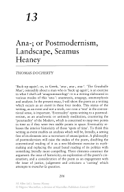 ana or postmodernism landscape seamus heaney springer inside