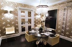 modern dining room round crystal chandelier over 5 pieces dining set with black round pedestal