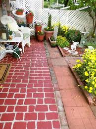 concrete patio painted to look like brick