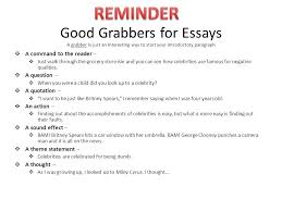 step one go to the stuarts draft homepage then to my teacher  4 good grabbers for essays
