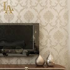 Europese Vintage Reliëf Goud Glitter Damast Behang Roll Woonkamer