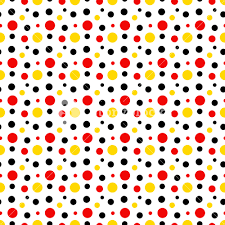 Mickey Mouse Pattern Of Red, Black And Yellow Polka Dots On A White  Background Royalty-Free Stock Image - Storyblocks