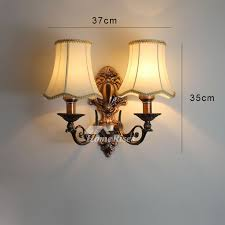 Vintage Wall Sconces Lighting Alloy Glass Fabric Shade Bedroom Unique