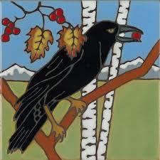 raven hand painted art tile