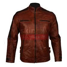motorbiker vintage brown waxed cafe racer leather jacket