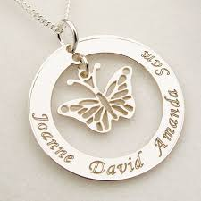 sterling silver personalised disc with hanging erfly pendant necklace