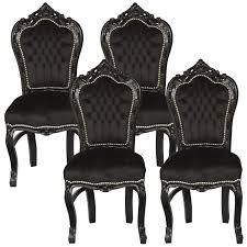 set of 4 dining chairs. Brilliant Amazing Set Of 4 Dining Room Chairs Baroque Gothic Black Velvet Within G
