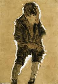 famous painting boy with hand to face of egon schiele