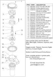 espresso grinders espresso machines parts and repairs saeco italia incanto grinder parts diagram