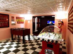 Basement ideas for teenagers Bedroom Ideas Hangout For Teens Painted Tin Ceilings Complete The Look For This 1950sflavored Arcade Pinterest Teen Basement Hangout