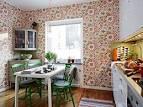 Дизайн кухни обои комбинированные