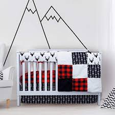 crib quilt red and grey crib skirt
