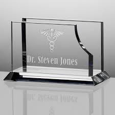 personalized crystal desktop business card holder for doctors