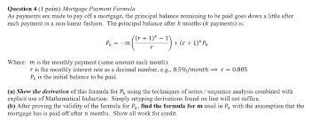 Question 4 1 Point Mortgage Payment Formula As P