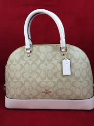 ... New COACH f58287 Sierra Dome Satchel In Signature Handbag Purse Light  Khaki Chalk ...