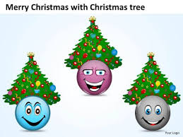 Merry Christmas With Tree Flow Chart Making Powerpoint