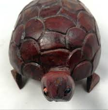 details about collectible hand carved wooden cherry tone turtle sculpture