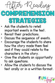 comprehension strategies for after reading