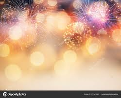 New Year Backgrounds New Year Background With Fireworks And Holiday Lights Stock Photo