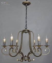 ac100 240v european vintage wrought iron candle chandelier minimalist dining room bedroom living room candles lighting lamps