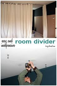 make this room divider from ikea curtain panels and a ceiling mount curtain rod will work for the windows of our holiday home too