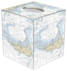 Nautical Chart Holder Tb2721 Nantucket Nautical Chart Tissue Box Cover