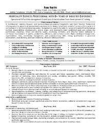 Sample Resume Of Hospitality Management Topshoppingnetwork Com
