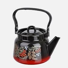 <b>Чайник эмалированный</b> с рисунком красно-черный - <b>Сибирские</b> ...