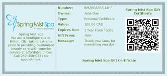 Gift Certificate Wording Gift Cards Online Milton Spa 241745873004 Gift Certificate