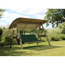 2 seat wooden garden swing with canopy seat pad loading zoom