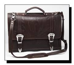 ropin west leather hand tooled buckled briefcase dj 8442