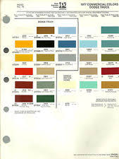 1977 dodge truck 1977 dodge truck color chip paint sample brochure chart ppg pickup pick