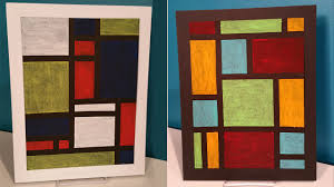 create easy modern oil pastel art inspired by piet mondrian you