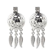 details about 1pcs silver plated cute elephant dream catcher pearl beads cage pendant diy