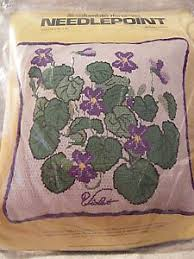 New 75 Columbia Minerva Violets Pillow Needlepoint Color