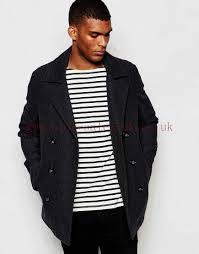 dark grey black men s peacoat wool in pea coat larger image